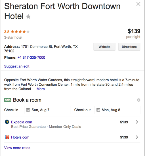 google maetasearch for sheraton hotels