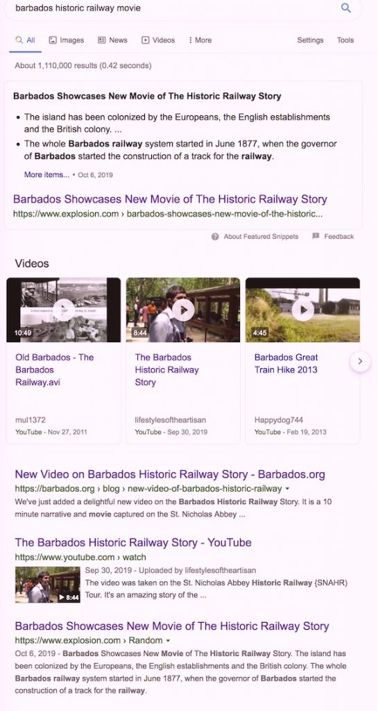 Barbados Historic Railway Movie News