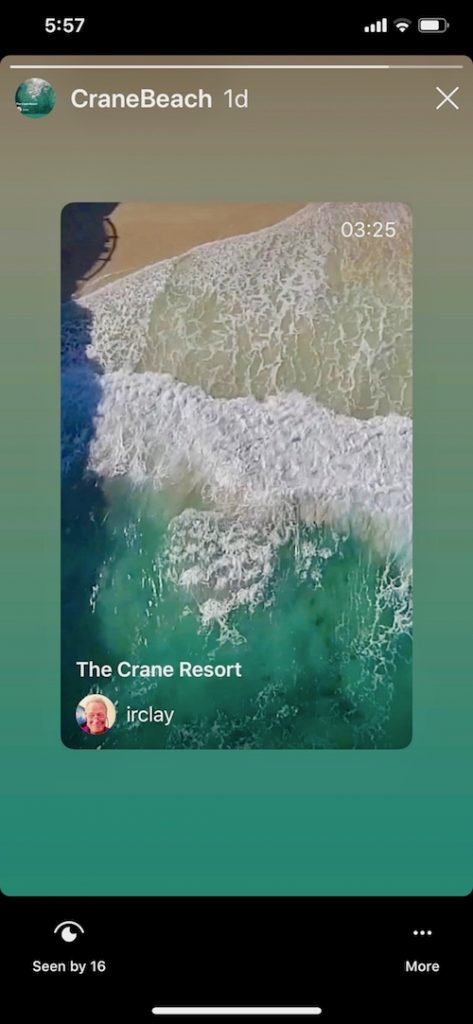 crane storyshared by IGTV